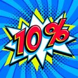 Sprzedaż oznacza kolekcję 10 dziesięć procentów daleko Rewolucjonistki liczba z uderzenie kształtem na błękitnym halftone tle sup Obrazy Stock