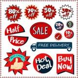 Sprzedaż oznacza sztandaru wektoru projekta ustalonego pojęcie Zdjęcia Royalty Free