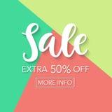 Sprzedaż pięćdziesiąt procentów daleko Online zakupy sztandaru szablon Obrazy Stock