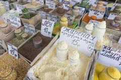 Sprzedaż pikantność rynek w Ukraina Metki na each produkcie Zdjęcie Stock
