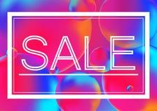 Sprzedaż pisze list marketingowego pojęcia wektorową ilustrację na Neonowym kolor piłek tle z biel ramą Abstrakcjonistyczny kolor Zdjęcia Stock