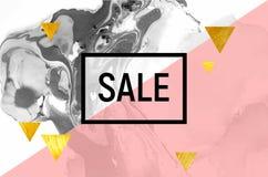 Sprzedaż plakat Czarny i biały marmur Różowy lampas, Złocistej folii trójboki Obraz Royalty Free