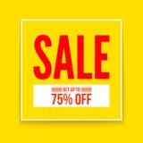 Sprzedaż plakat, dostaje up to siedemdziesiąt pięć procentów, płaski geometryczny wektorowy żółty projekt Prosty sztandar, szablo royalty ilustracja