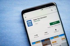 Sprzedaż podatku kalkulatora App zdjęcia royalty free