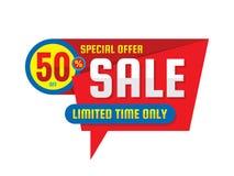 Sprzedaż - pojęcie sztandaru wektoru ilustracja Specjalnej oferty kreatywnie układ Rabat 50% daleko projekta elementu grafika ilustracja wektor