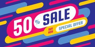 Sprzedaż rabat do 50% pojęcia sztandaru wektoru horyzontalnej ilustraci daleko - Specjalnej oferty abstrakta układ Graficznego pr royalty ilustracja