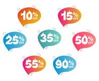 Sprzedaż, set sztandary z gorącymi liczbami ilustracji