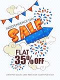 Sprzedaż sztandar dla Amerykańskiego dnia niepodległości świętowania lub plakat Obrazy Royalty Free