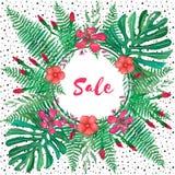 Sprzedaż sztandar tropikalni liście i kwiaty na białym tle royalty ilustracja