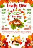 Sprzedaż sztandar z jesień liściem, sezon jesienny bania ilustracja wektor