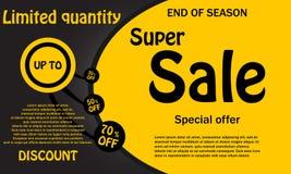 Sprzedaż sztandaru szablonu projekt, Duża sprzedaż up to 30,50,70 procentów, spe royalty ilustracja