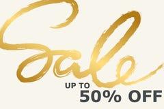 Sprzedaż sztandaru szablonu projekt w złocie i biel kolorach Handwritte ilustracji