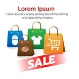 Sprzedaż sztandaru torba na zakupy i zakupy znak z ikoną furmanimy, koszula, mysz, kawowa fasola Zdjęcie Stock