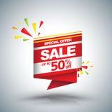 Sprzedaż sztandaru wektorowy rabat do 50 ilustracja wektor