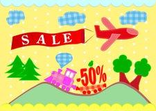 Sprzedaż sztandary. samolot i pociąg Obraz Stock