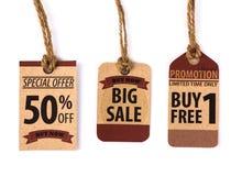 Sprzedaż talon, alegat, etykietka Rocznik zdjęcia royalty free