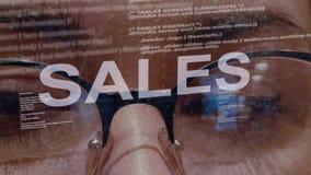 Sprzedaż tekst na żeńskim deweloper oprogramowania ilustracja wektor