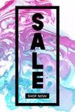 sprzedaż teraz sklep Czarny Typograficzny sztandaru szablon z pastelu marmuru teksturą na Białym tle Pionowo Plakatowy projekt Obrazy Royalty Free