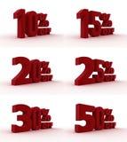 Sprzedaż ustawiająca procent ilustracja 3 d Zdjęcie Stock