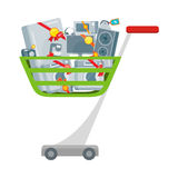 Sprzedaż w elektronika sklepu Płaskim Wektorowym pojęciu Zdjęcia Stock
