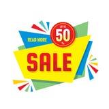 Sprzedaż - wektorowa kreatywnie sztandar ilustracja Abstrakcjonistyczny pojęcie rabat do 50% promocyjnego układu na białym tle ilustracji