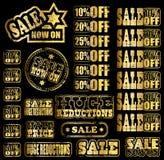 sprzedaż złociści gumowi znaczki Zdjęcie Royalty Free
