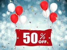 50% sprzedaż z sztandaru na błękitnym tle Zdjęcia Royalty Free