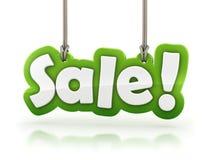 Sprzedaż! zielony słowo tekst na białym tle Zdjęcie Stock