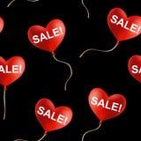 Sprzedaż! znak na latającym sercu kształtującym szybko się zwiększać, bezszwowy wektorowy tło Zdjęcia Stock