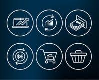 Sprzedaże diagram, aktualizacja dane i Atm pieniądze ikony, Pieniądze waluta, Internetowy zakupy i Sklepowi fura znaki, Zdjęcie Royalty Free