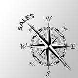 sprzedaże pisać na boku kompas Zdjęcie Royalty Free