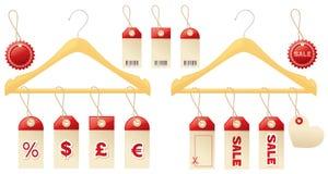 Sprzedaży clotheshangers i etykietki ilustracja wektor