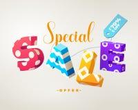 Sprzedaży 3D szyldowy kolorowy na bielu ilustracji