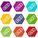 Sprzedaży etykietka 30 procentów z ikona koloru ustalonego sześcioboka Zdjęcie Royalty Free
