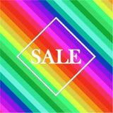 Sprzedaży etykietka w kwadracie na jaskrawy kolorowym ilustracji
