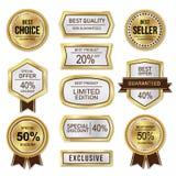Sprzedaży i rabata etykietki srebro i złoto royalty ilustracja