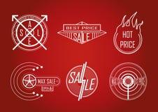 Sprzedaży ikona na czerwonym tle również zwrócić corel ilustracji wektora Zdjęcia Stock