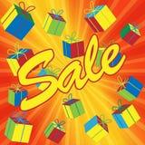 Sprzedaży ilustracja z prezentów pudełkami. Zdjęcie Stock