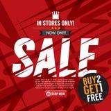 Sprzedaży kampanii zakup 2 Dostaje 1 Bezpłatnego tło sztandar ilustracji