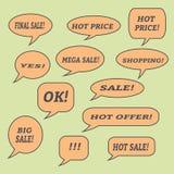 Sprzedaży mowy bąble Set ilustracyjne ikony Fotografia Royalty Free