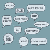 Sprzedaży mowy bąble Set ilustracyjne ikony Zdjęcie Royalty Free