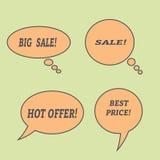 Sprzedaży mowy bąble Set ilustracyjne ikony Obraz Stock
