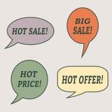 Sprzedaży mowy bąble Set ilustracyjne ikony Obrazy Stock