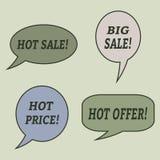 Sprzedaży mowy bąble Set ilustracyjne ikony Obrazy Royalty Free