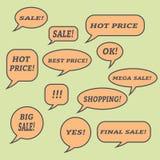 Sprzedaży mowy bąble Set ilustracyjne ikony Zdjęcia Royalty Free