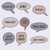Sprzedaży mowy bąble Set ilustracyjne ikony Zdjęcia Stock