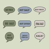 Sprzedaży mowy bąble Set ilustracyjne ikony Zdjęcie Stock