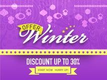 Sprzedaży plakat, sztandar lub ulotka dla zimy świętowania, Obraz Stock