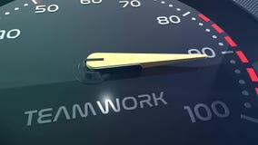 Sprzedaży, pracy zespołowej, stresu, występu, sukcesu, sppedometer lub wskaźnika konceptualna animacja, zbiory