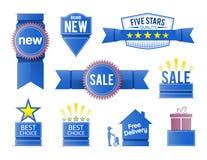 Sprzedaży promoci elementy w błękicie ilustracja wektor